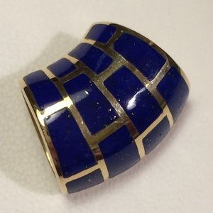 Jewelry - Lapis and Solid 14k Gold Slide Pendant